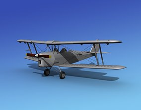 3D model Dehavilland DH82 Tiger Moth Bare Metal