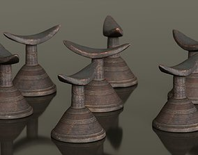 Headrest Africa Wood Furniture Prop 24 3D model