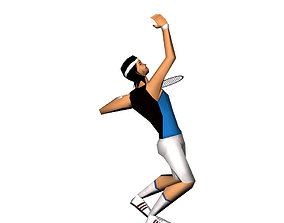 Tennis player lowpoly and animated 3D asset
