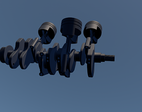 Piston Connecting Rod and Crankshaft 3D model