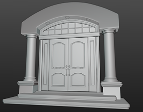 Fancy Entry Door with Archway and Pillars 3D model
