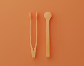 Egg shell remover Tweezer spoon 3D printable model