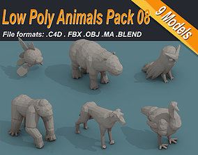 Low Poly 3d Art Animals Isometric Icon Pack 08 game-ready