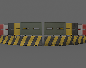 3D model PBR Concrete Roadblock Barrier V2