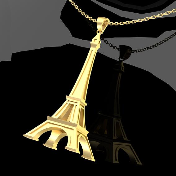 Eiffel Tower Pendant jewelry Gold 3D print model
