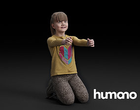 3D Humano Kneeling girl with outstretched arms 0510