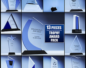 3D asset Trophy award cup low poly pack