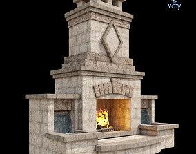 3D model Outdoor Fireplace 001