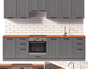 Gray kitchen with oven 3D