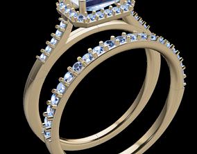3D print model Dainty Emerald Halo Diamond Engagement 3