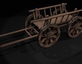 3D model rigged wooden cart