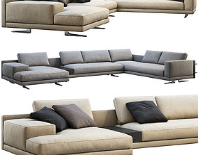 3D model Poliform Mondrian chaise lounge sofa