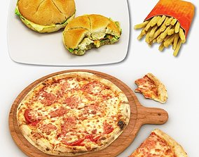 Pizza Burger and French Fries Collection 3D