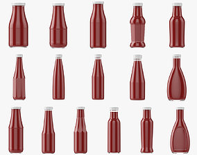 3D model Barbecue sauce in glass bottles 16pcs