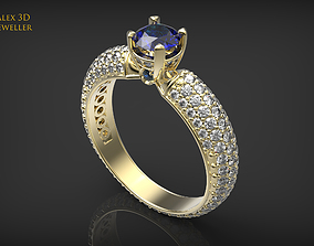 3D printable model Classic gemstone ring