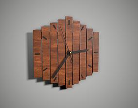Wooden Wall Clock 3D asset