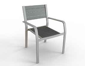 SJALLAND Chair with armrests outdoor light grey 3D model 1