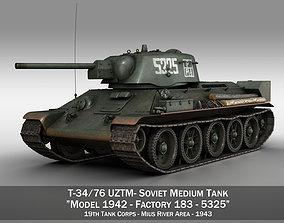 T-34-76 UZTM- Model 1942 - Soviet tank - 5325 3D