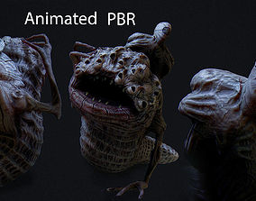 3D asset low-poly THe leach Horror monster Animated