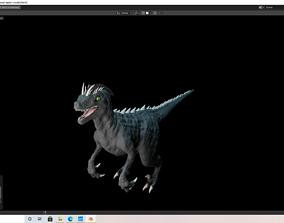 velociraptor dark version grey black and white 3D model 2