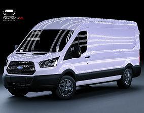 3D model VR / AR ready Ford Transit Van Long Fully Rigged