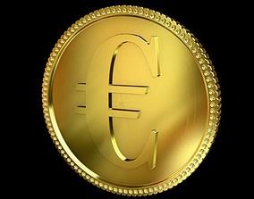 3D Euro Golden Coin