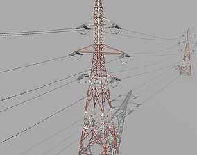 Electricity Pole 32 Weathered 3D asset