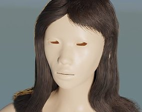 Base long female particle hair 3D model