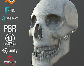 3D model game-ready Dirty Human Skull With Teeth