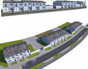 3D asset Neighborhood Houses 03