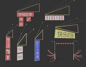 outdoor sign or signage - Hong Kong China 3D model