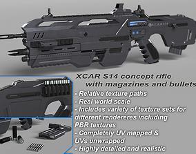 3D PBR Futuristic Assault Rifle XCAR S14