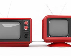 old tv retro television 3d model
