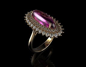 3D print model Pink Cabochon Oval Cut Sapphire Ring And 2