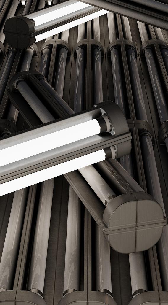 Fluorescent Neon Lamp - Wall-Lamp 3 - Low-Poly Version (Blender-2.92 Eevee)