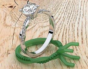 3D printable model Petite Twisted Vine Diamond Ring