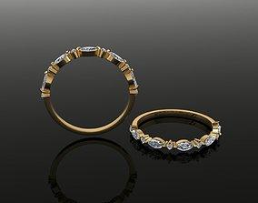 Marquise Half Infinity Diamond Band Ring 3D print model