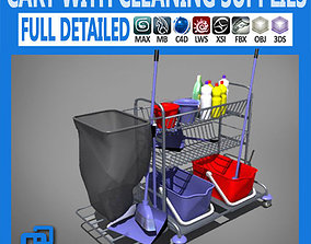 sweep 3D model Cart with Cleaning Supplies