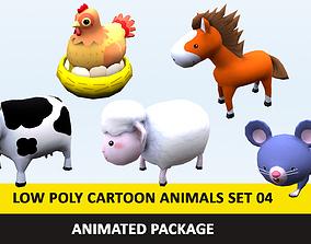 Cartoon Cute Animals Low Poly Pack - 04 AR VR 3D asset 1