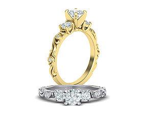 Art nouveau Engagement ring three stone design 3d model