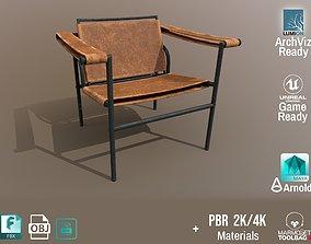 3D asset Chair Thonet Le Corbusier PBR - Worn Leather - 1