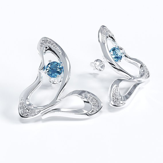Earrings with diamonds.
