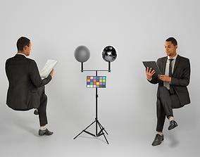 Businessman in suit reading documents 225 3D model