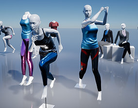 Female Mannequins with various clothing 3D model