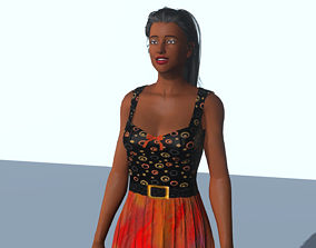 The girl in the orange dress 3D asset