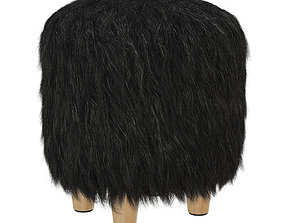 Round fur pouf with legs 3D model
