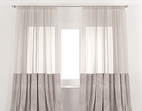3D model Beige velvet curtains with tulle
