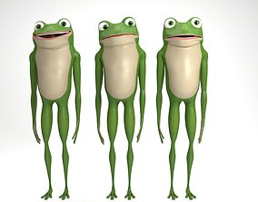 Cartoon frog 3D rigged