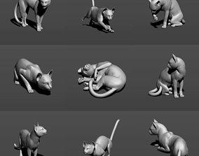 Cat in 10 poses 3D print model