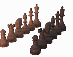 3D model realtime Chess Set Pieces